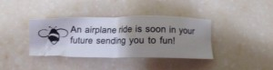 Our aviation-themed fortune from Pei Wei in SLC. We hope it's right!